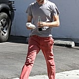 Adam Brody stepped out for lunch in bright red pants.
