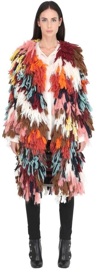 Chloé Wool & Silk Multicolor Yarn Coat