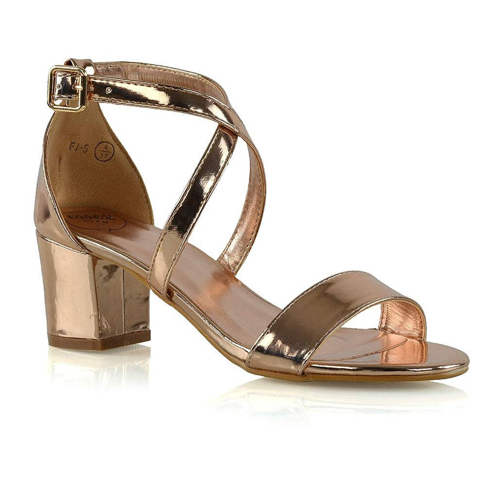 14dedaa0aea Essex Glam Womens Low Heels Strappy Block Heel Ankle Strap Evening Sandals