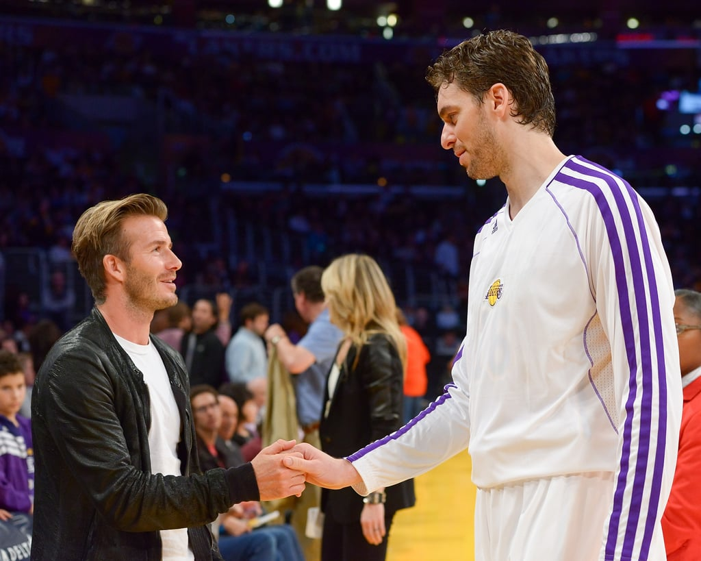 Pau Gasol shook David Beckham's hand.