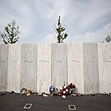 Flowers were set against the Flight 93 National Memorial in Pennsylvania.