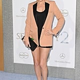 Becki Newton always turns on the flirty factor. Her latest getup, including a peachy Celine blazer, is no exception.