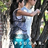 Justin Bieber and Selena Gomez took a walk together on the set of her new movie.
