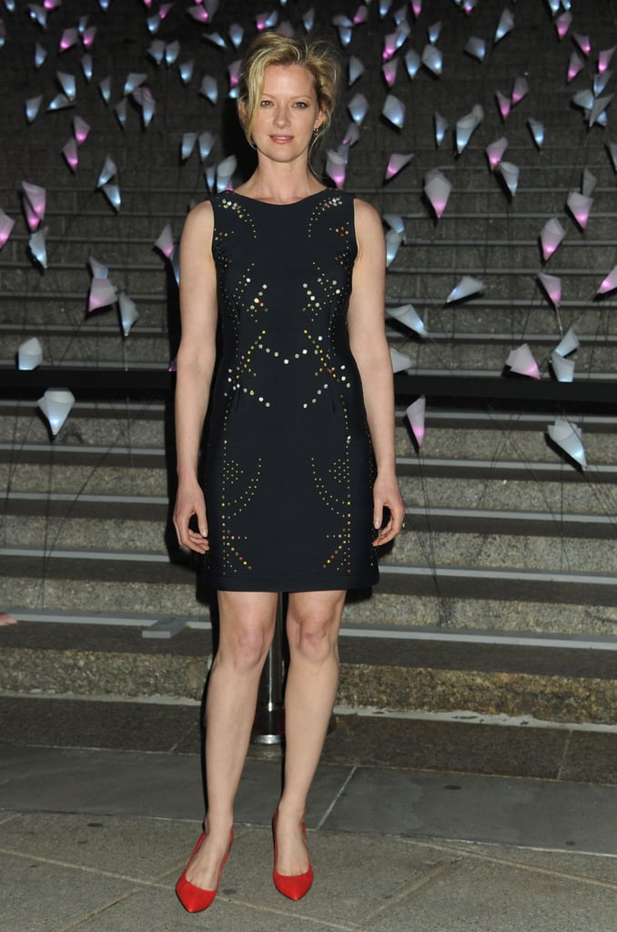 Gretchen Mol wore a colorful stud-accented LBD and red pumps to Vanity Fair's Tribeca Film Festival party.