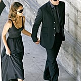 Jessica Alba and Cash Warren held hands before heading into Eva Longoria and Tony Parker's Parisian wedding ceremony in July 2007.