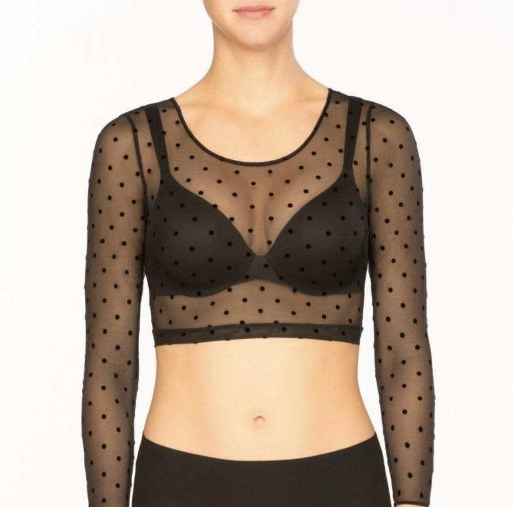 Spanx Sheer Fashion Flocked Dot Crop Top