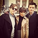 Lea Michele posed with her Glee boys in NYC. Source: Instagram user msleamichele