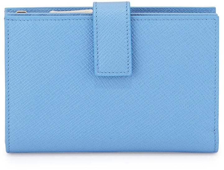 Smythson Blue Panama Medium Continental Wallet ($365)