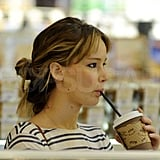 Jennifer Lawrence sipped a hot drink.