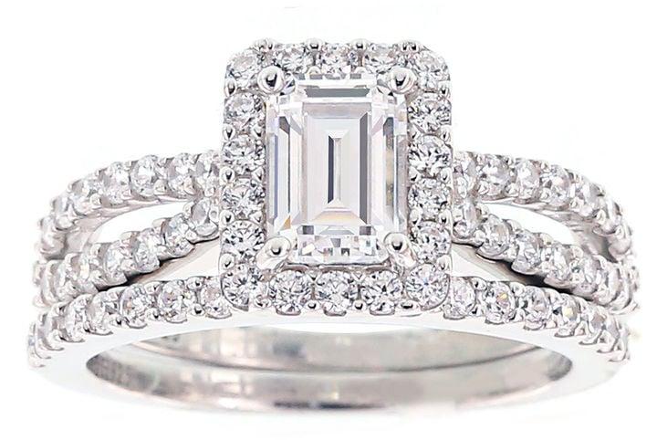 DiamonArt Cubic Zirconia Sterling Silver Emerald-Cut Bridal Ring Set