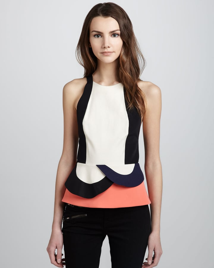 Diane von Furstenberg's Eon colorblocked peplum top ($365) has just a little whismy that makes it a perfect going-out or going-to-work option.