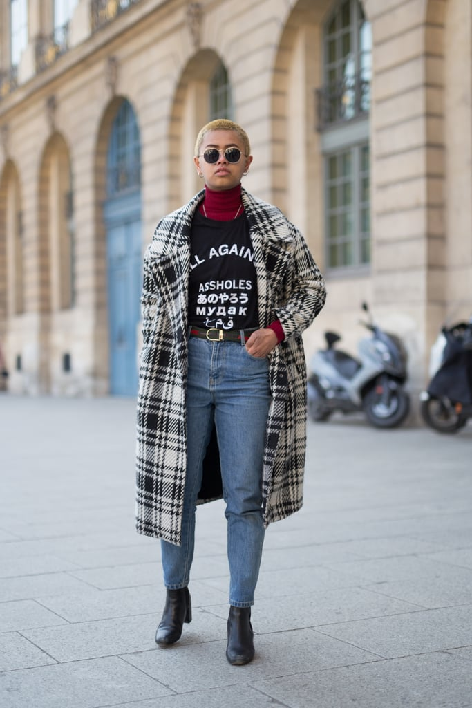 A Plaid Coat, Statement Tee, Jeans, and Black Boots