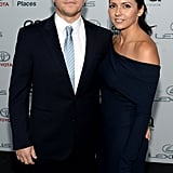 Matt and Luciana Damon posed together at the event.