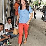 Pippa had fun with bright colours as she hailed a cab in New York City on September 5, 2012.