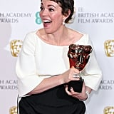 When she was really happy to be posing with her BAFTA.