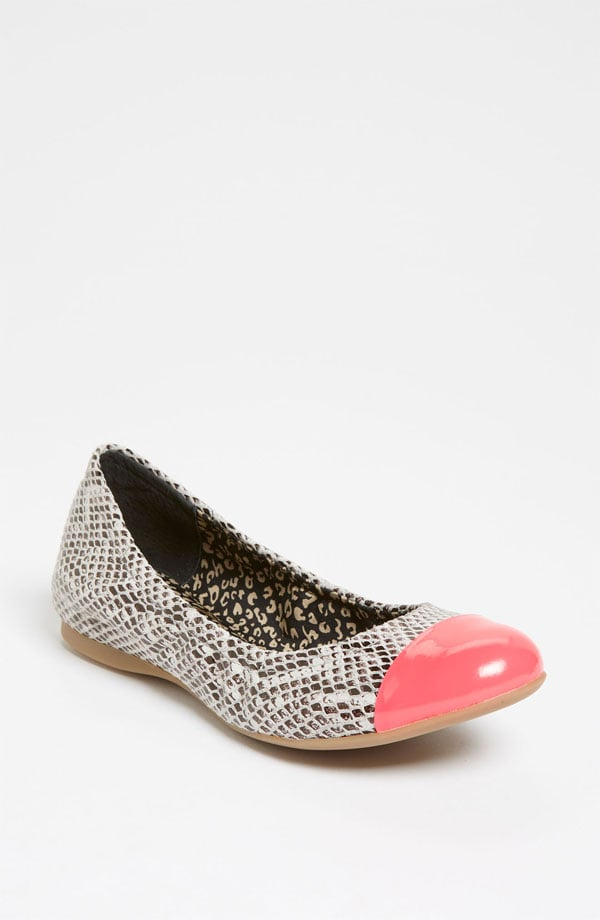 The petal-pink cap toe on these Jessica Simpson Maine Flats ($79) is the perfect accompaniment to the cool snakeskin print.