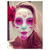 Kate Hudson took a selfie to show off her white, pink, and blue makeup.