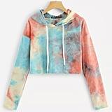 Romwe Tie Dye Drawstring Hoodie Sweatshirt