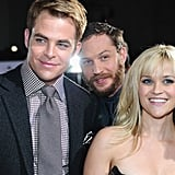 Chris Pine, Tom Hardy, and Reese Witherspoon posed together.