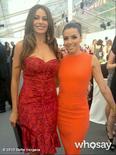 Sofia Vergara and Eva Longoria posed together in bright dresses at Glamour UK Women of the Year Awards.  Source: WhoSay user Sofia Vergara