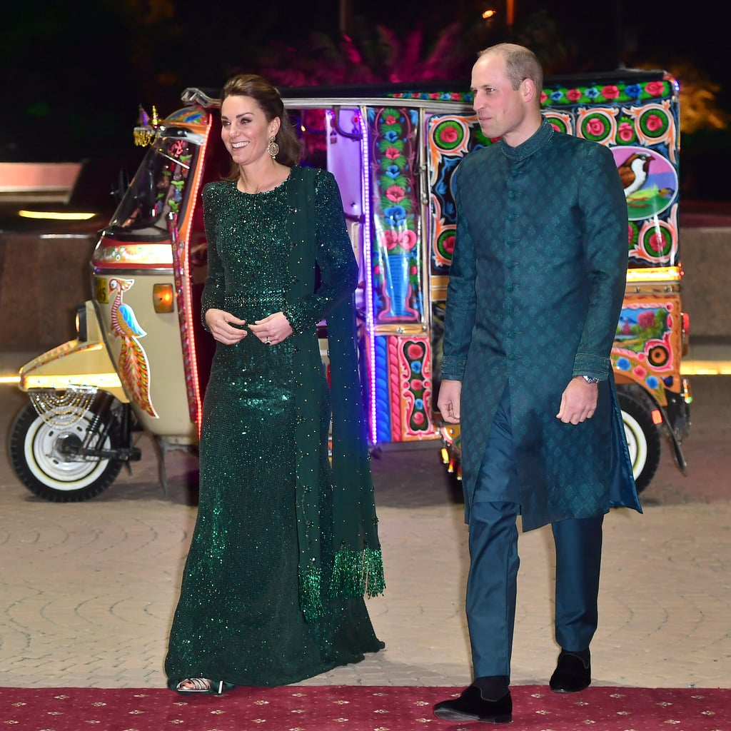 If you were wondering how long it would be before Kate Middleton stepped out in a showstopping evening gown during the royal tour of Pakistan, the answer is less than 24 hours. After landing in the country yesterday, she and Prince William spent the day taking part in royal engagements that required a slightly more relaxed wardrobe. But as the royal couple arrived by rickshaw to the National Monument in Islamabad for a glamorous evening reception, they did so in style, dressed in complementary dark green outfits that will go down in royal fashion history. They royal couple's his-and-hers looks were perfectly chosen for the occasion, reflecting the principal colour of the flag of Pakistan. Kate chose a heavily embellished emerald green beaded and sequinned gown by Jenny Packham, while William eschewed his usual tuxedo for a teal sherwani. It's not often we're as intrigued by the prince's fashion choice as we are by his wife's, but tonight, they were the perfect pair. Keep reading to take a closer look at all the details of these eye-catching looks.      Related:                                                                                                           Kate Middleton Chose a Dress Just Like Princess Diana Did in Pakistan — But Kate's Is Ombré
