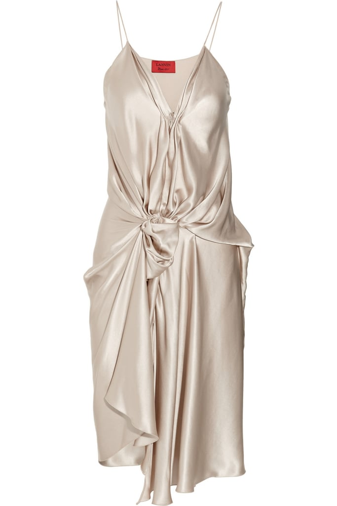 Lanvin's draped silk-satin dress ($434, originally $2,480) is a beautiful option for the modern bride-to-be.
