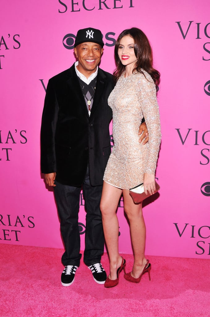 Russell Simmons and Hana Nitsche posed for photos at the Victoria's Secret Fashion Show after party in NYC.