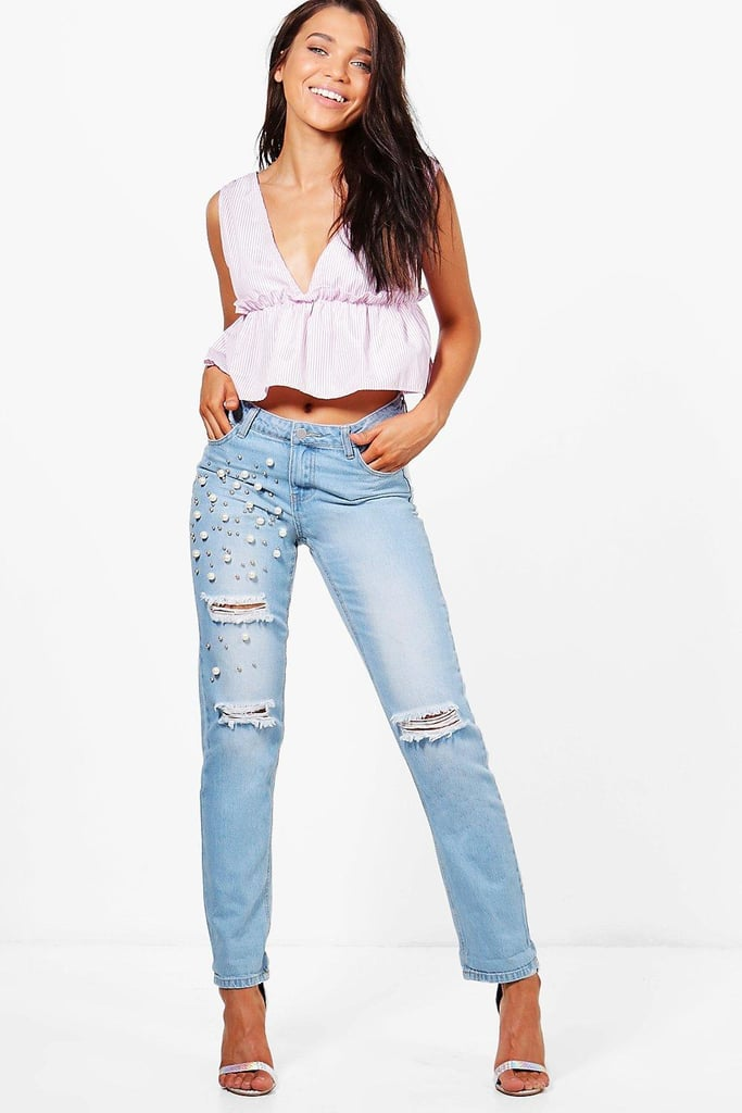 Boohoo Pearl Stud Boyfriend Jeans