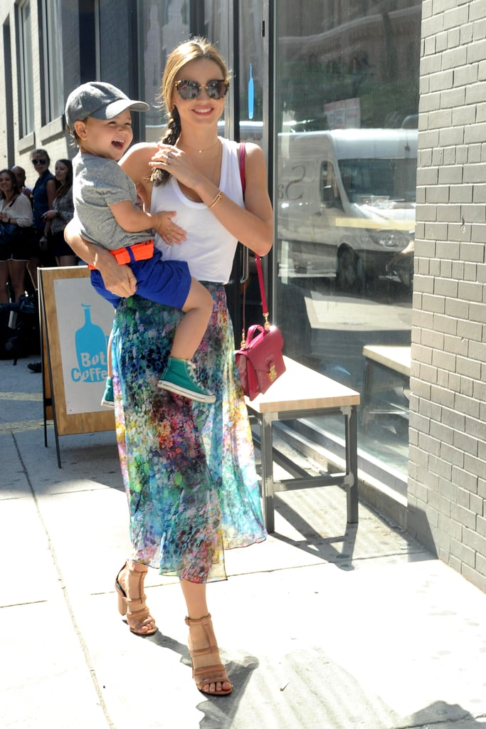 Flynn and Miranda shared a laugh on July 8 on their way to a studio.