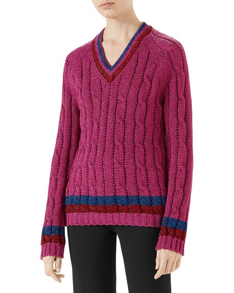 05869b5d3dc0c9 Gucci Lurex Cable-Knit Sweater