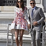 Amal's floral-embellished Giambattista Valli dress was light and airy, perfect for a celebration.