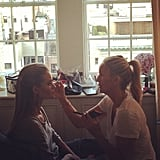 Rosie Huntington-Whiteley got her makeup done with a gorgeous view before the Met Gala. Source: Instagram user rosiehw