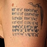 Geographical Coordinates on Her Left Arm