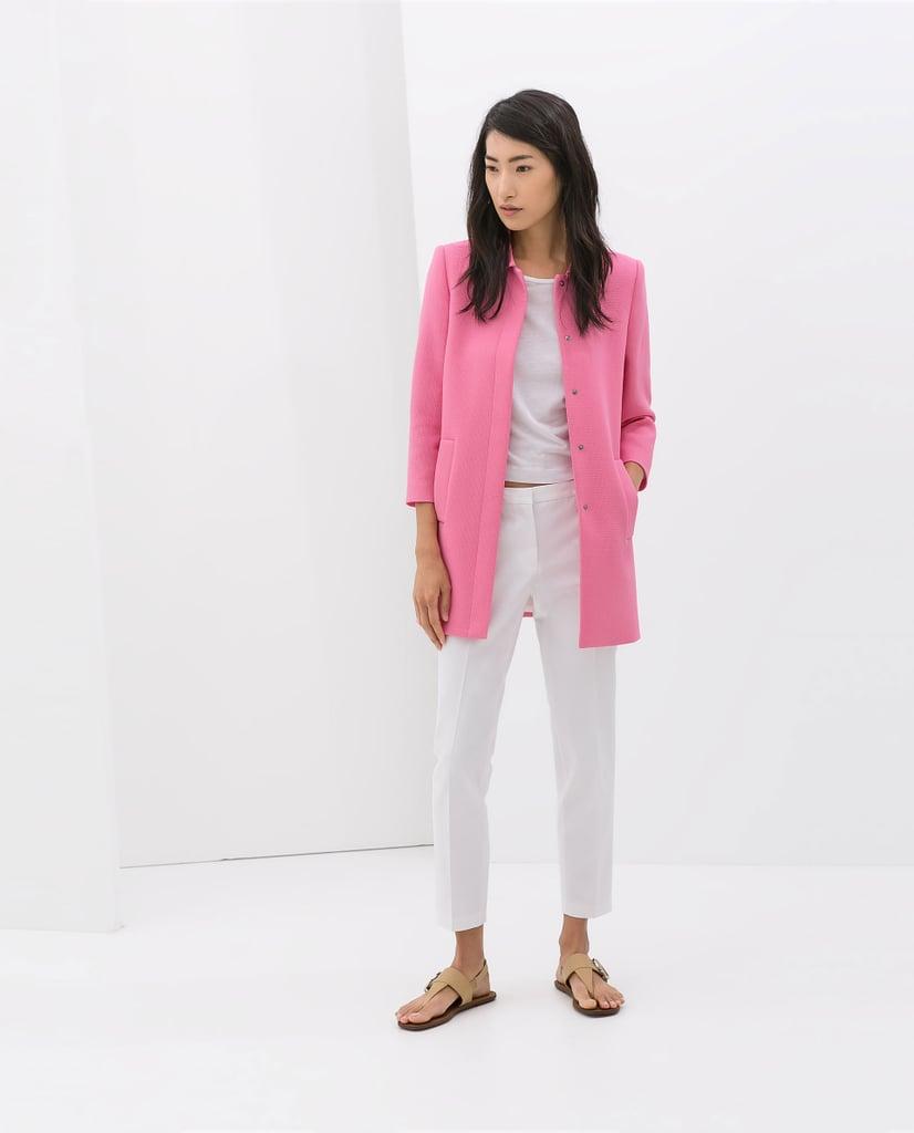 Zara bright pink drape-neck coat ($139)