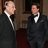 Prince Philip mingled with Tom Cruise during a dinner at Buckingham Palace.