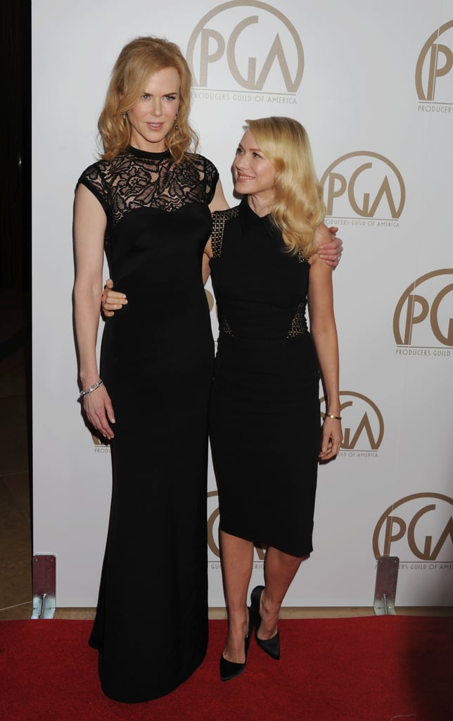 Nicole Kidman posed with her fellow Aussie Naomi Watts on the red carpet at the Producers Guild Awards.