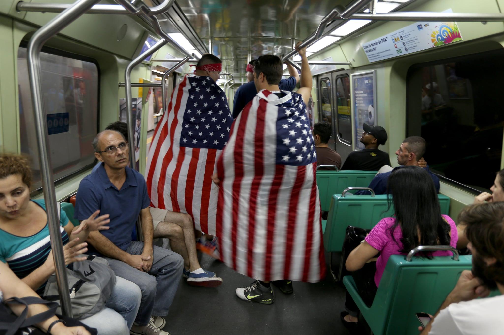 In Rio de Janeiro, Brazil, fans wearing American flags rode the subway.