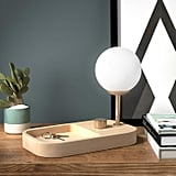 Rivet Modern Globe Table Desk Lamp and Tray with Light Bulb and USB Port