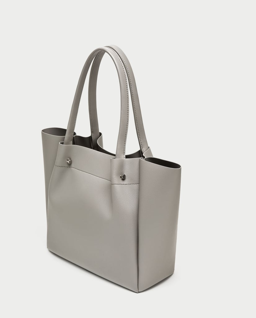 d0a2d4a8c7 Zara Tote Bag With Metal Appliqué Detail | Angelina Jolie Leather ...