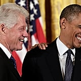 Bill Clinton had President Obama laughing during the ceremony.
