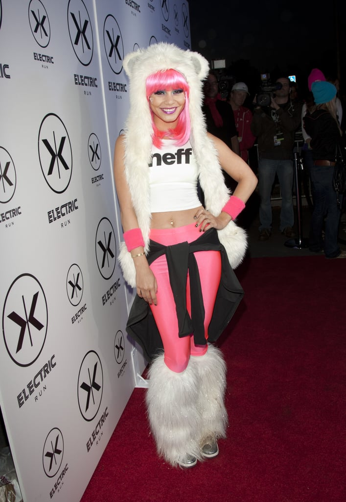 """Vanessa Hudgens was decked out in fur and hot pink when she hosted the Electric Run in LA last night. The event is a 5K run/walk at night in which participants dress up in neon and glowing clothing and run a course while listening to electronic music. Vanessa's involvement in dance music should come as no surprise to her fans as she released a rave-inspired music video with girl group YLA for her new song, """"$$$ex,"""" earlier this month. Looking forward, Vanessa has several movie releases to prepare for in the coming months, including the highly anticipated Robert Rodriguez film, Machete Kills, which also stars Sofía Vergara and Jessica Alba. Machete Kills is slated to hit theaters on Sept. 13."""