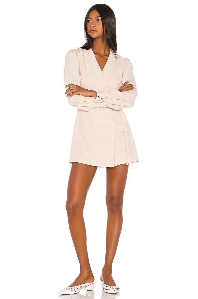 Song of Style Lois Mini Dress in Beige Check from Revolve.com