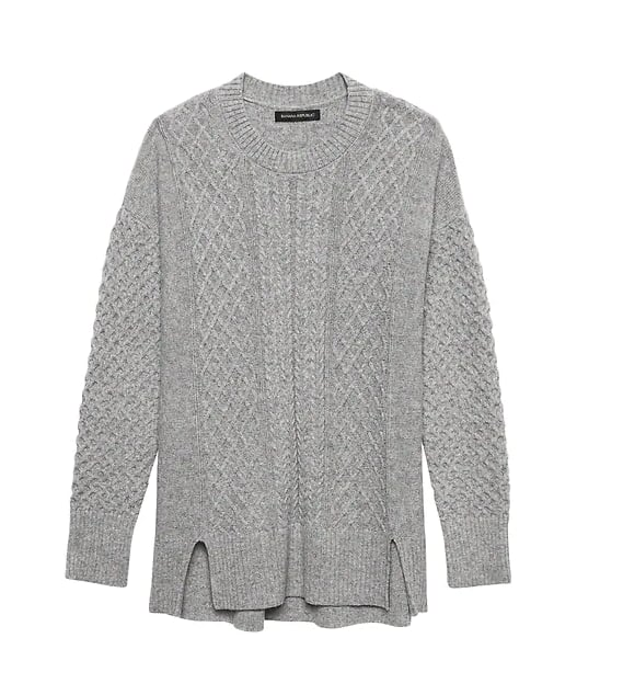 Wool-Cotton Blend Cable-Knit Sweater Tunic