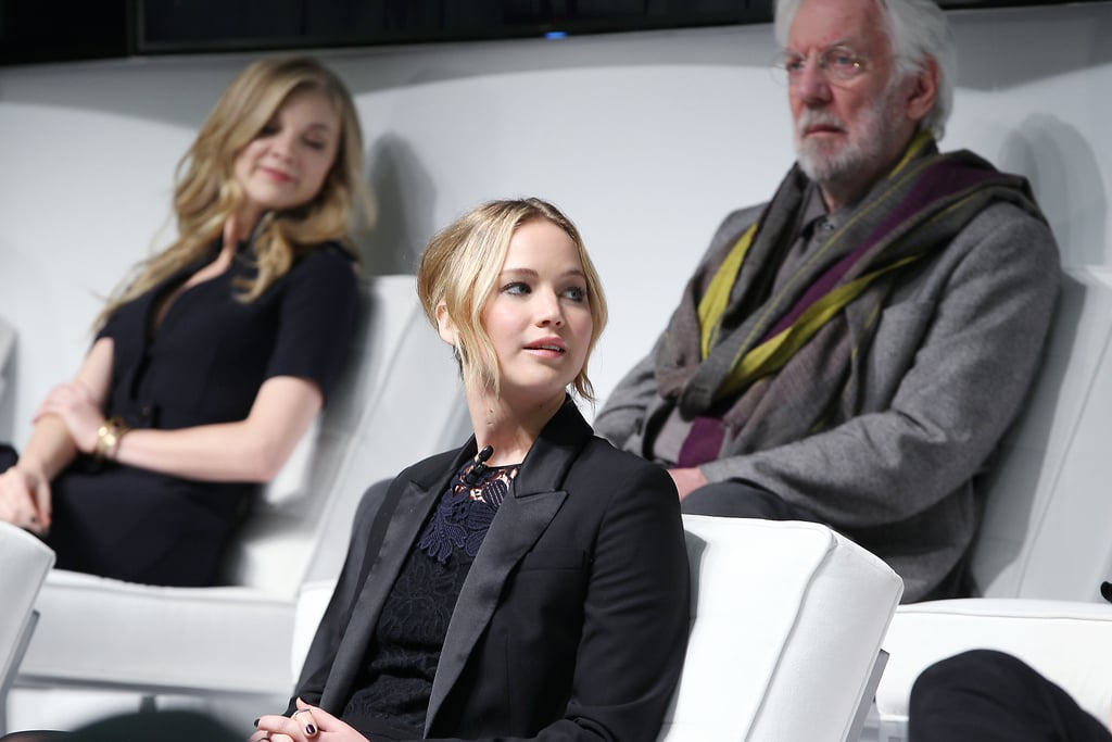 """1. Jennifer Was There When Natalie Dormer Had to Shave Her Head Natalie said that Jennifer was welcoming and supportive to the new cast members, although there was one instance where she wasn't totally supportive. """"I was in the room when Natalie shaved her head,"""" Jennifer said, referencing Cressida's half-shaved look. """"I was like, 'Dude are you sure? Oh my god! Oh my god!'"""" 2. Jennifer Did Not Intentionally Eat Smelly Food Before Kissing Liam When asked about Liam's comments that Jen had intentionally been eating stinky foods before their kissing scenes to give herself bad breath, she protested: """"I didn't think so much about the kissing so I would just eat whatever beforehand."""" It just so happened that some of that food had smelly ingredients. However, Jennifer did note that she would give Liam """"fair warning"""" beforehand by telling him exactly what she had eaten before they had to smooch. (But the line was apparently drawn at brushing her teeth after eating.) 3. Marilyn Monroe Was Sam Claflin's Inspiration For Finnick Sam surprised nearly everyone in the room when he revealed that Marilyn Monroe was part of his inspiration for his character, Finnick, because, like Marilyn, """"behind closed doors he is damaged."""" Even Sam's costars were impressed by his interesting inspiration, with Josh shouting out, """"That's incredible!"""""""