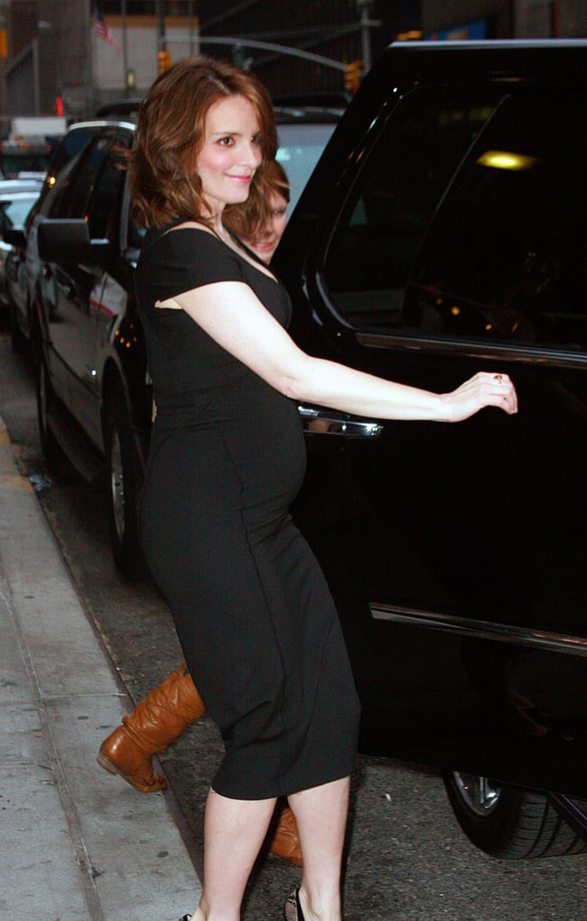 Tina Fey's Baby Bump Outside Letterman