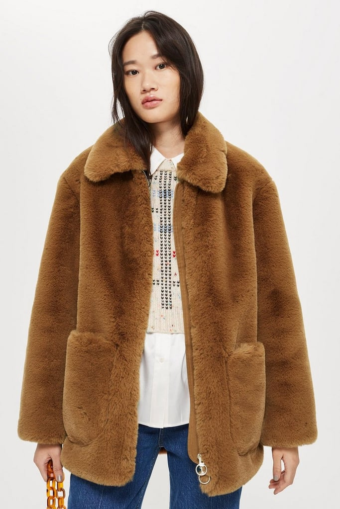 Topshop Faux Fur Zip-Up Jacket