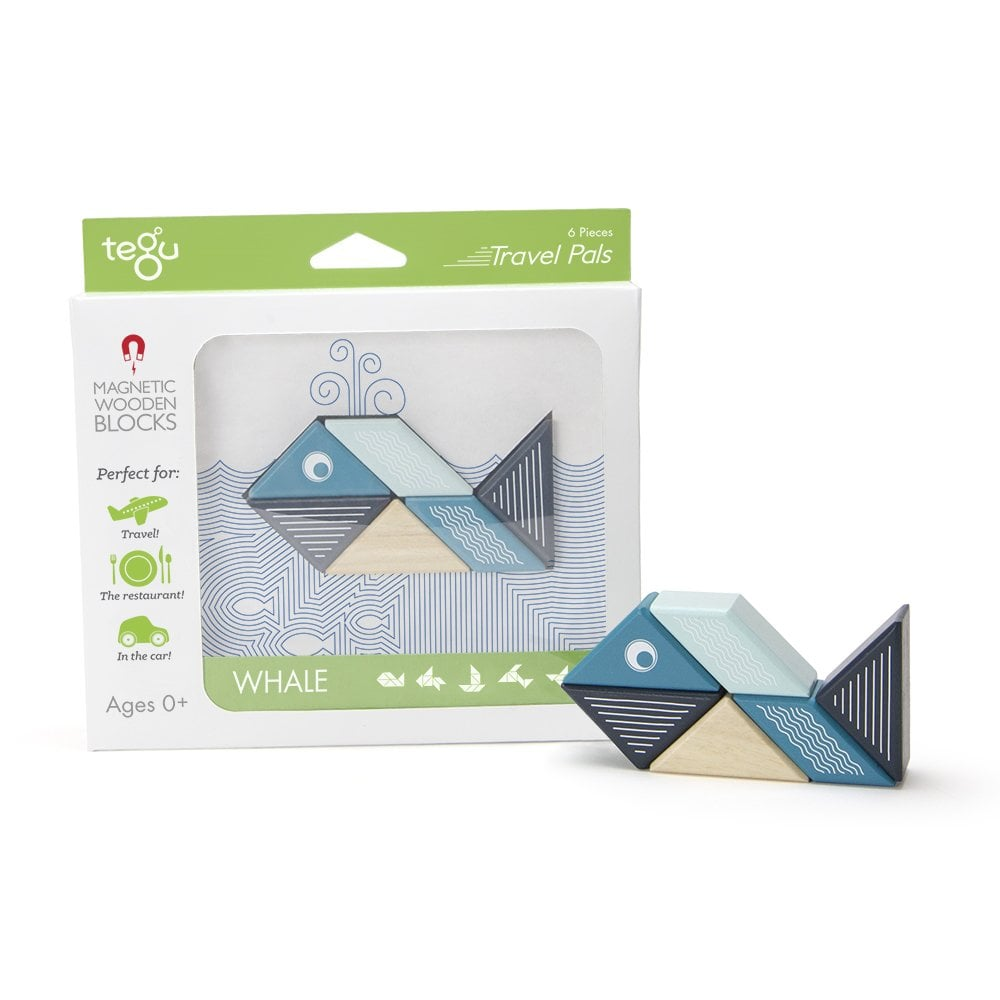 Tegu Travel Pals Whale MAGNETIC Wooden Building Toy Blocks