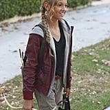 """Back in the Game Kennedy Waite as The Hunger Games' Katniss Everdeen on Back in the Game's Halloween episode, """"Night Games,"""" airing Oct. 30."""