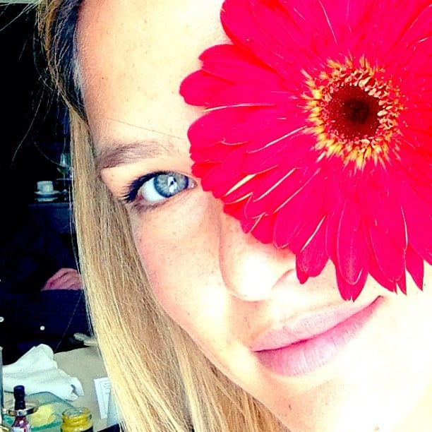 Bar Refaeli posted a very Spring-ready snap with a Gerbera daisy. Source: Instagram user barrefaeli