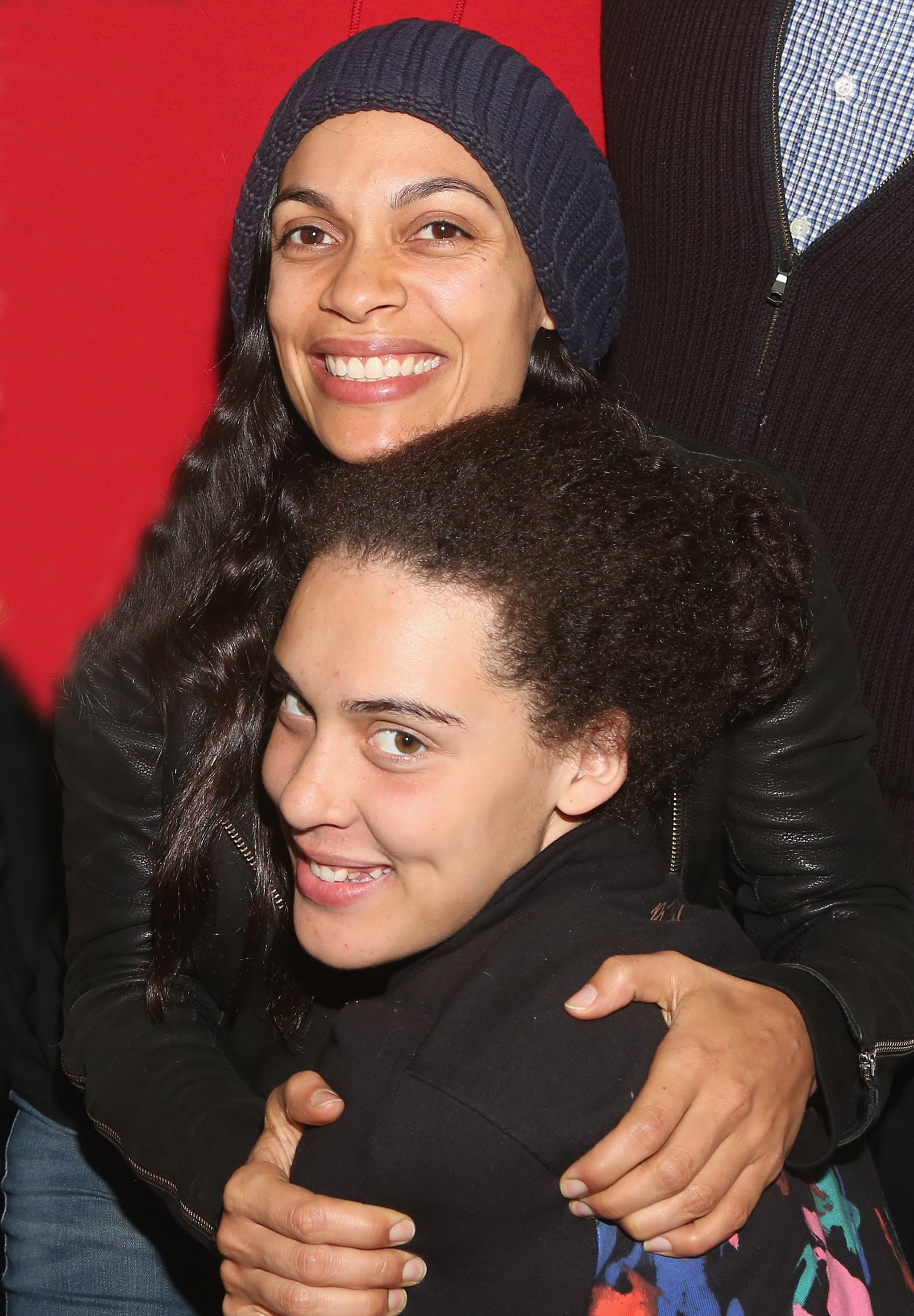 NEW YORK, NY - JANUARY 05:  Rosario Dawson and daughter Lola Dawson pose backstage at the hit Tony Winning Musical